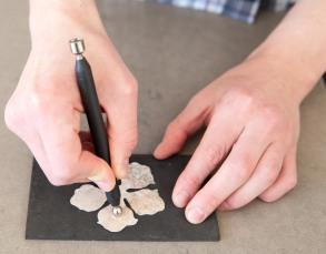 3. Use a stylus and rub in a circular motion on the back of a petal.
